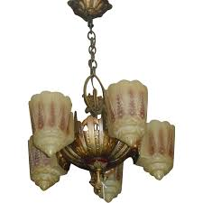 Art Deco Light Fixture Art Deco 5 Light Slip Shade Chandelier Lincoln From