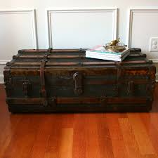 antique steamer trunk coffee table flat low profile canvas