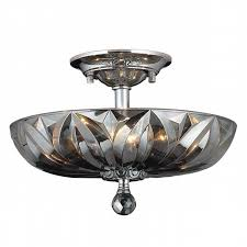 Chrome Flush Mount Ceiling Light by Collection 4 Light Chrome Finish And Smoke Crystal Semi Flush