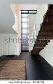 Villa Stairs Design Empty Modern Hall Big Window Stairs Stock Illustration 99216509