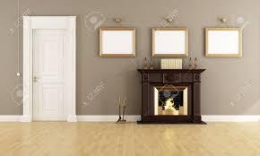 vintage livingroom brown fireplace in a vintage livingroom with wooden stock