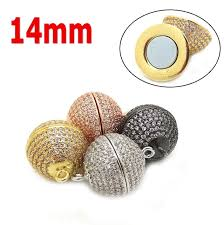 round necklace clasp images New 14mm 18k gold plated magnetic clasp round bead micro pave jpg