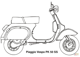 piaggio vespa scooter coloring page free printable coloring pages