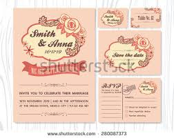 Wedding Invitation Sets Vintage Rose Tone Wedding Invitation Sets Stock Vector 280087373