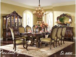 Dining Room Set With China Cabinet by Michael Amini Chateau Beauvais 9 Piece Ornate Formal Dining Room