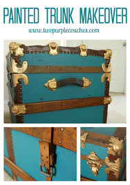 how to paint a vintage trunk two purple couches