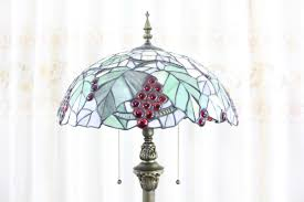 tiffany grape stained glass country style home floor lamp