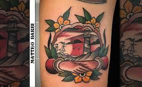 tattoo old school mani il faro e le mani tatuaggio traditional a colori matteo barbi
