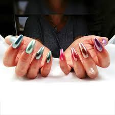 darkhorsenailstudio rainbow chrome acrylic nails private salon in
