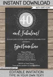 chalkboard 40th birthday invitation template silver glitter