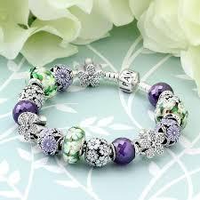 pandora bracelet murano glass images Pandora charm bracelet flower green purple pink 15 pcs charms jpg