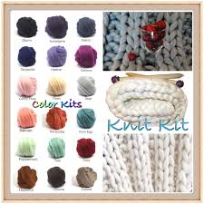 knit kit new large blanket kit color choice chunky blanket