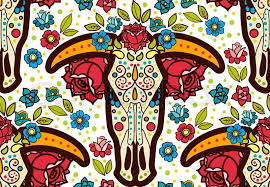 cow print wrapping paper cow skull in boho school tattoo american print on t