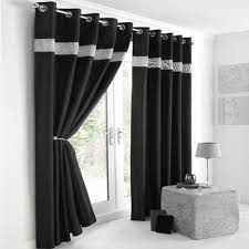 Black Curtains 90 X 54 Diamante Eyelet Lined Curtains Black Silver Tony U0027s Textiles