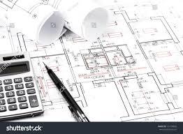 and house plans rolls architecture blueprints house plans stock photo 131734826