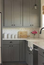 Downstairs Kitchen Gray Kitchen Cabinets White Subway Tile - Silestone backsplash