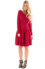 maroon sweater dress ruby sleeve fit and flare sweater dress for sale lime lush