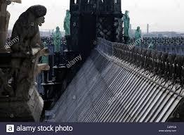 gargoyles the roof and gargoyles of notre dame de paris stock photo royalty