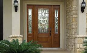 stylish brown wooden front entry door with stained glass accents