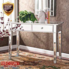 Glass Makeup Vanity Table Makeup Vanity Table Console Mirrored Desk Hollywood Wooden Glass