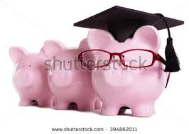 graduation piggy bank blue piggy bank graduation hat isolated stock photo 355410602