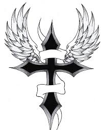 black cross wings design tats