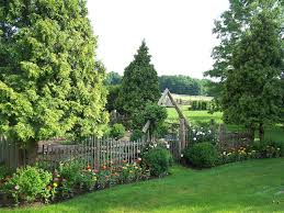wooden fence gates landscape traditional with cottage garden