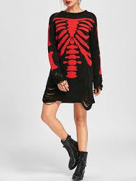 halloween skeleton distressed jumper dress black red xl in