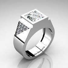 Mens Gold Diamond Wedding Rings by Mens Modern 14k White Gold 3 0 Ct Princess White Sapphire Diamond