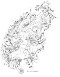 l u0027esprit d u0027automne line art original pencil drawing coloring