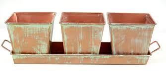 copper herb planters u0026 tray 12in