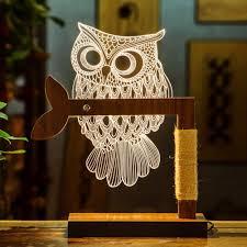 nattork lighting effects 3d optical illusion owl desk table night