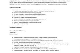Assistant Principal Resume Sample by Resume For Principal Position Reentrycorps