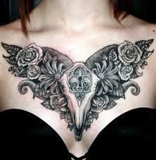 chest design ideas bull skull and flowers on