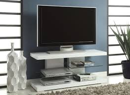 Modern White Tv Table Stand White Glossy Finished Wooden Tv Stand With Two Glass Shelves