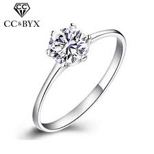cheap white gold wedding rings engagement rings for women simple classic bague cc041 white gold