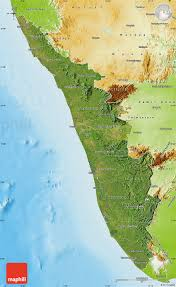 India Physical Map by Satellite Map Of Kerala Physical Outside