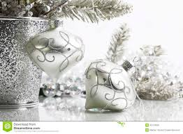two silver ornaments stock photo image 45134028