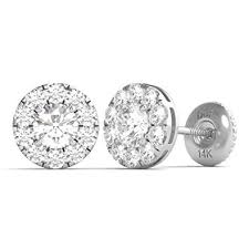 white gold diamond earrings diamond studs forever 14k white gold diamond halo