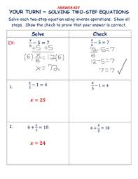 solving two step equations introduction notes worksheets by