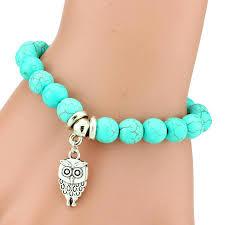 turquoise stone bracelet images Owl charm turquoise stone bracelet ashley jewels jpg
