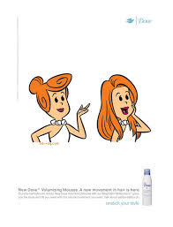 dove hair products cartoon print campaign marge wilma flintstone