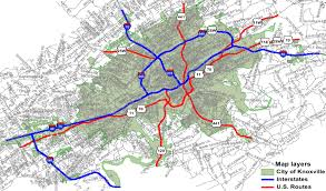 Tennessee Political Map by U S Highway Routes In City Of Knoxville City Of Knoxville