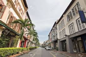 row houses singapore preserved historic peranakan row houses stock photo