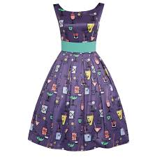 purple cocktail glass print party dress with waspie belt