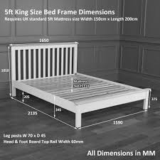 King Size Bed Dimensions In Feet Chester Grey Painted 5ft King Size Bed