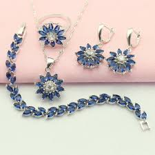 blue stone necklace earrings images Wpaitkys classic flower dark blue stone silver color jewelry sets jpg