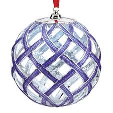 lit purple woven ornament