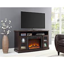 ameriwood furniture barrow creek fireplace console with glass