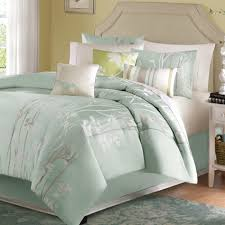 Mint Green Comforter Size 7 Piece Comforter Set With Floral Pattern In Light Blue Green